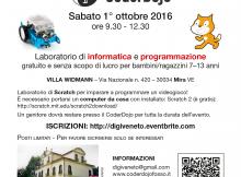 volantino coderdojo mira 1 ottobre 2016